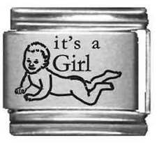 Clearly Charming It's a Girl Laser Italian Charm
