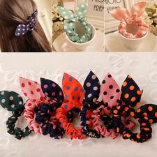 FM_ 10pc Women Elastic Bow Rabbit Bunny Ear Hair Band Rope Scrunchie Ponytail Ho