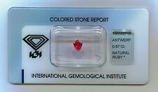 IGI Certified Thai Natural Ruby 0.67 carats Transparent RED - NO TREATMENT