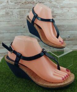Ralph Lauren  Slip On THONG  Wedge Sandals Shoes Women's 7.5B BLUE..NWOB