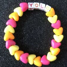 YOLO UV Kandi Rave heart Bead Bracelet BNWT Party 90s Old Skool Festival