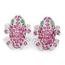 Ohrringe Frosch Rubin Smaragd 925 Silber 585 Weißgold