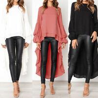 Women's Long Bell Sleeve Ruffles Asymmetrical Hem Loose Casual Tops Shirt Blouse