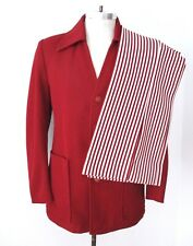 Wild vtg 70s red white 2-pc disco pimp leisure suit bell bottom stripe pants 38