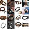 Cool Men Women Multilayer Leather Bracelet Cuff Wristband Bangle Fashion Jewelry