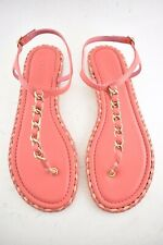 Chanel Pink Braided Gold CC Logo Chain Thong Ankle Strap Slide Sandal Flat 40C