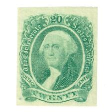 Confederate Postage Stamp, Green 20 Cent George Washington, CSA 13a w/Gum.