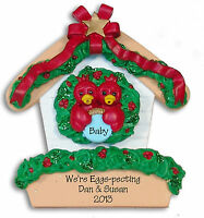 Red Robin COUPLE in Birdhouse Personalized Ornament Hand Painted RESIN  Deb & Co