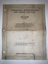Sears 18 inch Jig Saw Operating Instructions Parts List Model 103.0407 Form 148-