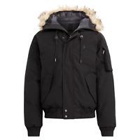Polo Ralph Lauren Mens Black Down Faux Fur Trim Hooded Puffer Bomber Jacket NWT