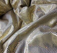 GOLD Lame Polka Dot Polyester STRETCH VELVET Fabric - 1/4 yd remnant