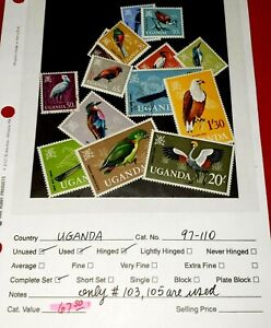 {UGANDA BIRDS< SCOTT #97-110< M&U SET< VF< NO THINS< CV $67.50>epictronic/JC}