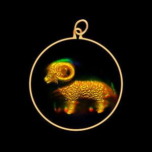9ct Gold Hologram Pendant - Zodiac Aries Ram (Medium) - No Chain