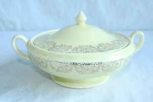 Vintage Soup Tureen With Lid Yellow with 24kt Gold Decoration Mid Century