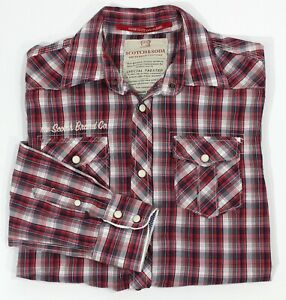 Scotch & Soda Shirt Mens Sz S Red Check L/S Snap Buttons Logo Button Up Collared