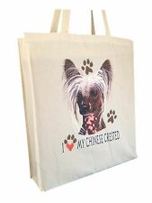 Chinese Crested Cotton Shopping Tote Bag with Gusset & Long Handles Perfect Gift