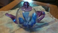 """Murano Paperweight Purple and Clear Teapot Blue Tulips Inside 3.5"""" X 4.5"""""""