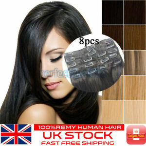 8pcs Clip in Human Hair Extensions Full Head 100% Real Remy Hair Mix Blonde UK