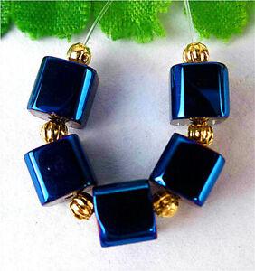 7mm 5Pcs Blue Titanium Crystal Cube Height Hole Pendant Bead BT92213