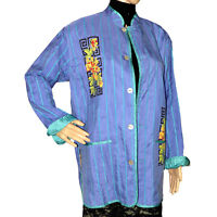CHICO'S Womens Asian Jacket Sz 1-Medium Blazer Silk Blue Teal Mandarin Collar