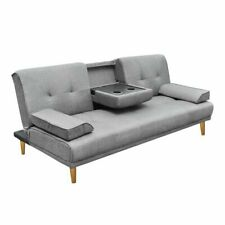 Linen Fabric 3 Three Seater Sofa Bed Mattress Futon Couch 2 Cup Holder Grey