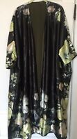 NWOT Reversible Satin Floral Kimono Duster Opera Coat With Pockets One Size