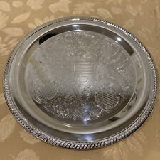 """International Silver Company 15""""  Round Platter Tray Etched Floral"""