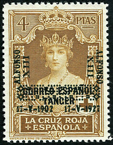 ESPAÑA 1927. Coronación de Alfonso XIII. 4 pesetas. Nuevo*. Edifil 399.