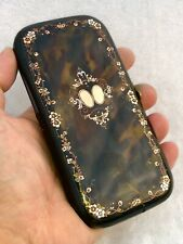 More details for ornate antique 19th century faux tortoiseshell inlaid with gold & silver cigar c