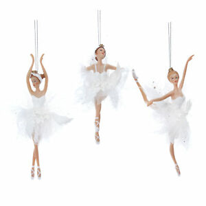 3 x Gisela Graham White Iridescent Ballet Ballerina Hanging Christmas Decoration