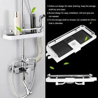 Largre Bathroom Pole Shelf Shower Storage Caddy Rack Organiser Tray Holder White