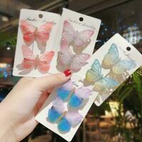 2Pcs/Pack Colorful Butterfly Hair Clips Sweet Hair Hairpins Hot Ornament U7J1