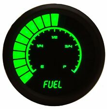 Analog Bargraph FUEL GAUGE Universal GREEN LEDs! Black Bezel! 52mm 2 1/16 in