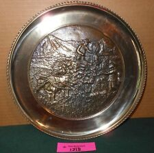 Vintage Solid Brass Farm Scene Decorative Wall Hanging Plate Lot 1318