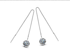 White Gold Plated Clear Crystal Round Zircon Long Drop Dangle Earrings Jewellery