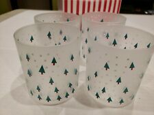 4 Christmas Glassware Frosted ON THE ROCK Glasses. Christmas Trees & Snowflakes