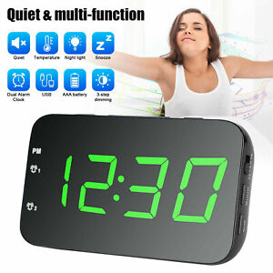 Digital Large LED Display Screen Temperature Desk Snooze Alarm Clock USB Battery