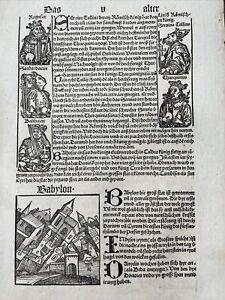 Schedel Weltchronik Schönsperger, Inkunabel 1497 Holzschnitt