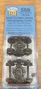 Kadee HO #558 Barber S-2 Roller Bearing Self-Centering Trucks 70-Ton