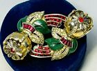 Important Coro Craft Enameled And Ruby Red Trembling Camilla Flower Duette-Rare