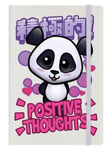 Handa Panda Notebook Positive Thoughts A5 Hard Cover Cream 14x21cm