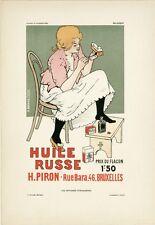 """""""HUILE RUSSE H.PIRON"""" Planche originale entoilée Litho RASSENFOSSE 1896 26x35cm"""