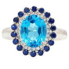 14K WHITE GOLD PAVE DIAMOND SAPPHIRE & BLUE TOPAZ HALO COCKTAIL ENGAGEMENT RING