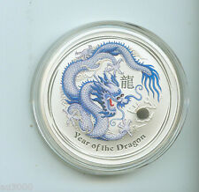 2012 $1 LUNAR YEAR OF DRAGON 1 Oz WHITE & BLUE COLORIZED SILVER COIN AUSTRALIA !