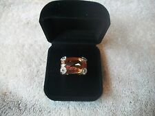 NOLAN MILLER Signed Cocktail Ring Sz 6 BIG & Glitzy Goldtone Champagne Crystal