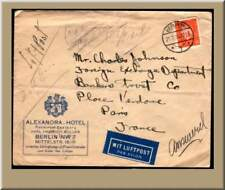 1930 GERMANY ADVERTISING AIRMAIL ALEXANDRA HOTEL BERLIN
