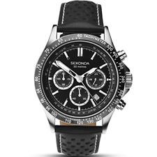 Sekonda Da Uomo Quadrante Nero Orologio Cronografo Modello 1227 RRP £ 89.99