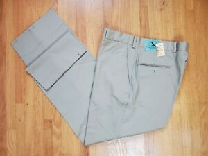 Eddie Bauer 34 x M (32-33) Tan Cotton Twill Khaki Plain Front Pants *NOT Hemmed*