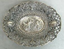 "140 YEAR ANTIQUE ORIGINAL GERMAN MADE CHERUB LARGE 14"" RETICULATED BREAD DISH"