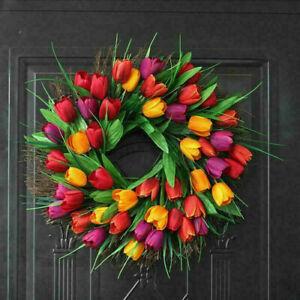 Spring Artificial Tulip Front Door Wreath Home Decor Window Wall Party Decor new